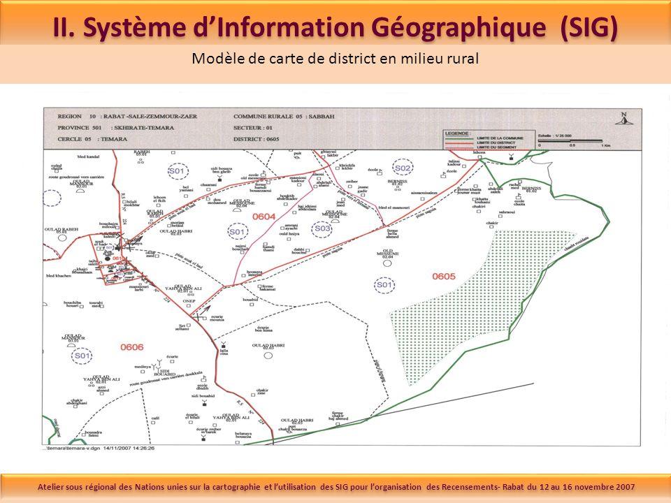 II. Système dInformation Géographique (SIG) Modèle de carte de district en milieu rural