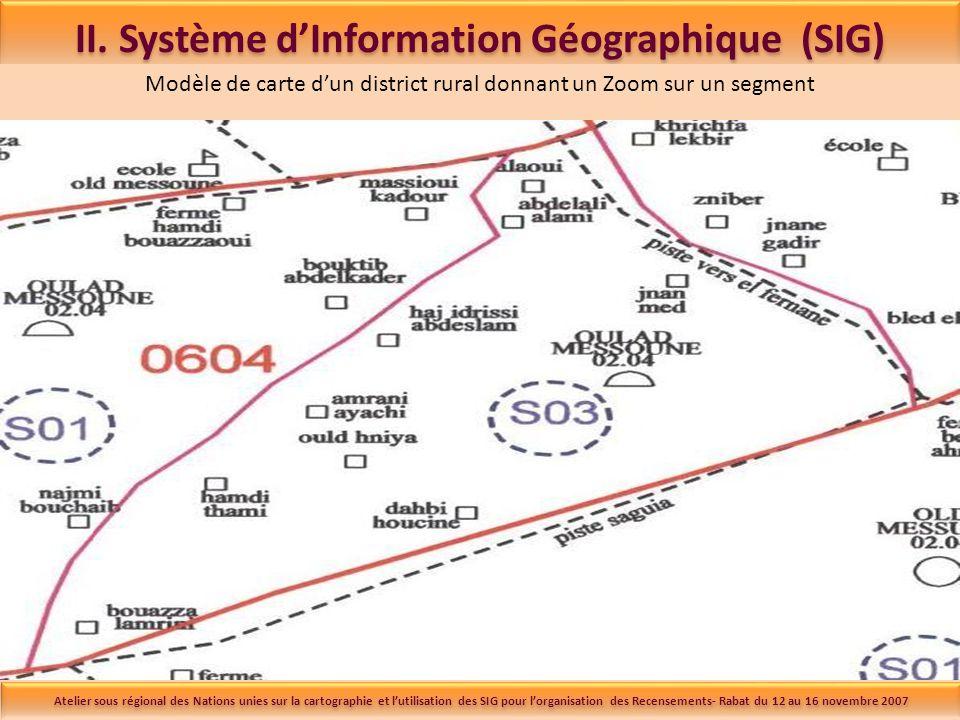 II. Système dInformation Géographique (SIG) Modèle de carte dun district rural donnant un Zoom sur un segment