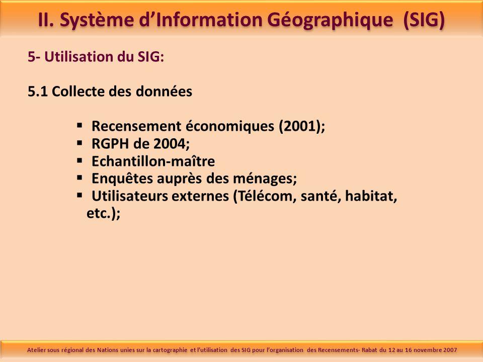 5- Utilisation du SIG: 5.1 Collecte des données Recensement économiques (2001); RGPH de 2004; Echantillon-maître Enquêtes auprès des ménages; Utilisateurs externes (Télécom, santé, habitat, etc.); II.