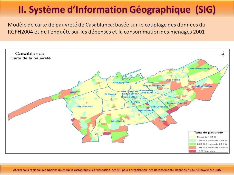 Modèle de carte de pauvreté de Casablanca: basée sur le couplage des données du RGPH2004 et de lenquête sur les dépenses et la consommation des ménages 2001 II.