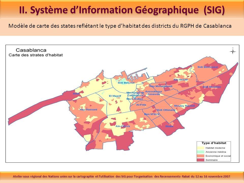 Modèle de carte des states reflétant le type dhabitat des districts du RGPH de Casablanca II.