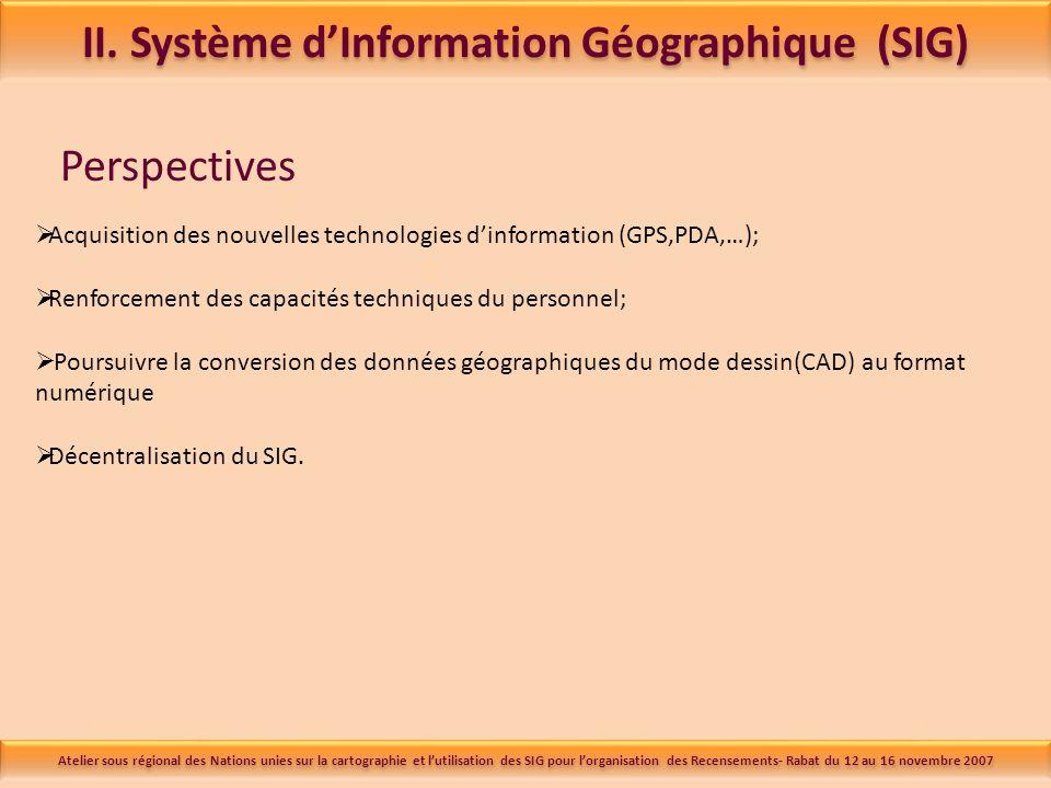 Perspectives Acquisition des nouvelles technologies dinformation (GPS,PDA,…); Renforcement des capacités techniques du personnel; Poursuivre la conversion des données géographiques du mode dessin(CAD) au format numérique Décentralisation du SIG.