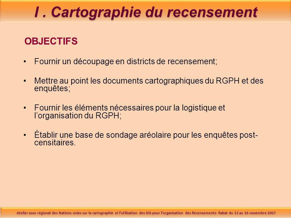 I. Cartographie du recensement OBJECTIFS Fournir un découpage en districts de recensement; Mettre au point les documents cartographiques du RGPH et de