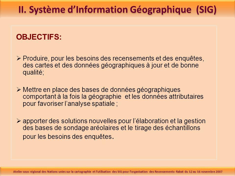 II. Système dInformation Géographique (SIG) OBJECTIFS: Produire, pour les besoins des recensements et des enquêtes, des cartes et des données géograph