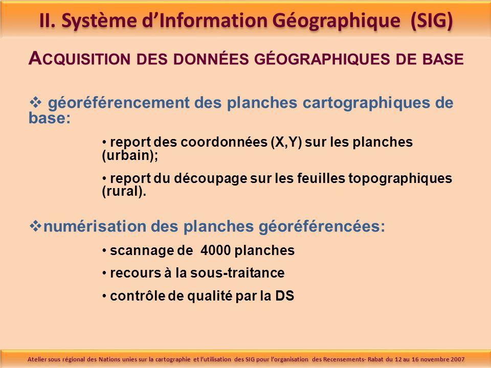 A CQUISITION DES DONNÉES GÉOGRAPHIQUES DE BASE géoréférencement des planches cartographiques de base: report des coordonnées (X,Y) sur les planches (urbain); report du découpage sur les feuilles topographiques (rural).