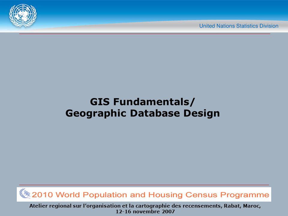 Atelier regional sur lorganisation et la cartographie des recensements, Rabat, Maroc, 12-16 novembre 2007 GIS Fundamentals/ Geographic Database Design