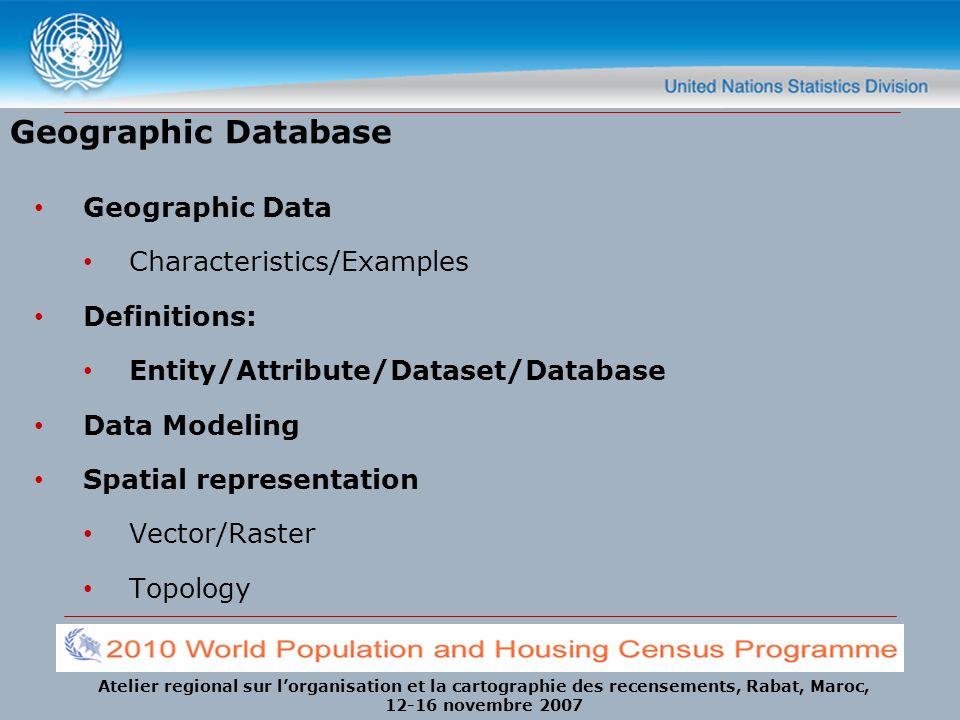Atelier regional sur lorganisation et la cartographie des recensements, Rabat, Maroc, 12-16 novembre 2007 Geographic Database Geographic Data Characte