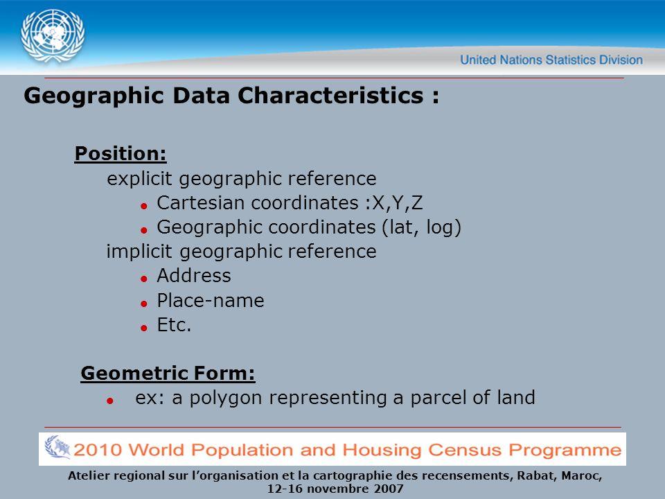 Atelier regional sur lorganisation et la cartographie des recensements, Rabat, Maroc, 12-16 novembre 2007 Geographic Data Characteristics : Position: