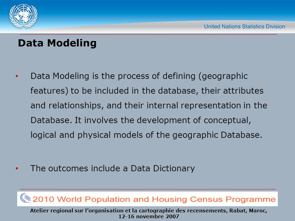 Atelier regional sur lorganisation et la cartographie des recensements, Rabat, Maroc, 12-16 novembre 2007 Data Modeling Data Modeling is the process of defining (geographic features) to be included in the database, their attributes and relationships, and their internal representation in the Database.