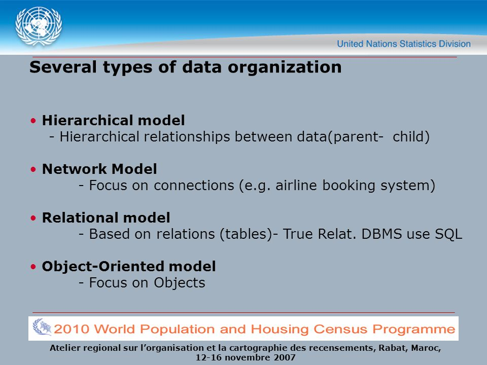 Atelier regional sur lorganisation et la cartographie des recensements, Rabat, Maroc, 12-16 novembre 2007 Several types of data organization Hierarchical model - Hierarchical relationships between data(parent- child) Network Model - Focus on connections (e.g.