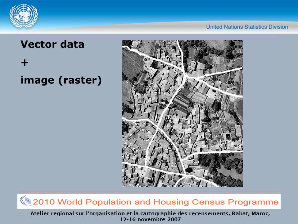 Atelier regional sur lorganisation et la cartographie des recensements, Rabat, Maroc, 12-16 novembre 2007 Vector data + image (raster)