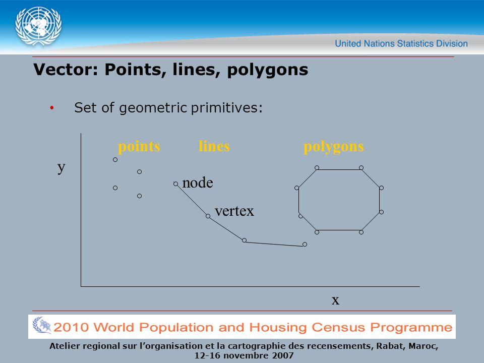 Atelier regional sur lorganisation et la cartographie des recensements, Rabat, Maroc, 12-16 novembre 2007 Vector: Points, lines, polygons Set of geometric primitives: pointslinespolygons node vertex x y