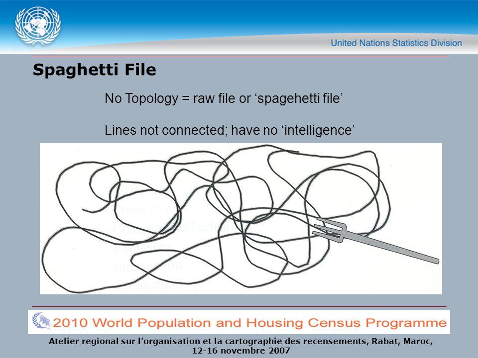 Atelier regional sur lorganisation et la cartographie des recensements, Rabat, Maroc, 12-16 novembre 2007 Spaghetti File No Topology = raw file or spa