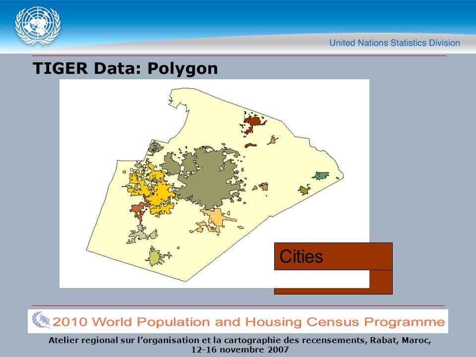 Atelier regional sur lorganisation et la cartographie des recensements, Rabat, Maroc, 12-16 novembre 2007 TIGER Data: Polygon Counties MCDsCensus Tracts Block Groups Voting Districts Zip CodesCities