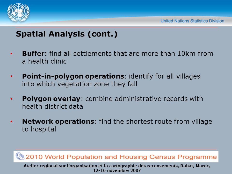 Atelier regional sur lorganisation et la cartographie des recensements, Rabat, Maroc, 12-16 novembre 2007 Spatial Analysis (cont.) Buffer: find all se