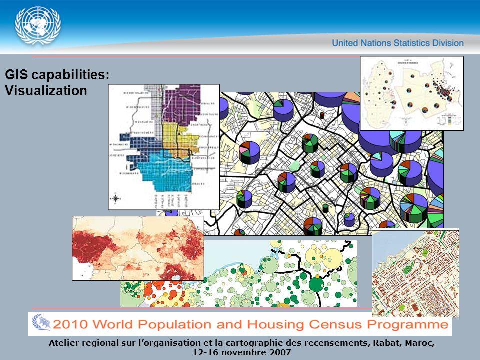Atelier regional sur lorganisation et la cartographie des recensements, Rabat, Maroc, 12-16 novembre 2007 GIS capabilities: Visualization