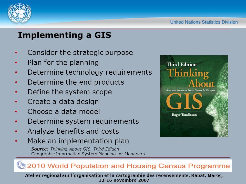 Atelier regional sur lorganisation et la cartographie des recensements, Rabat, Maroc, 12-16 novembre 2007 Implementing a GIS Consider the strategic pu