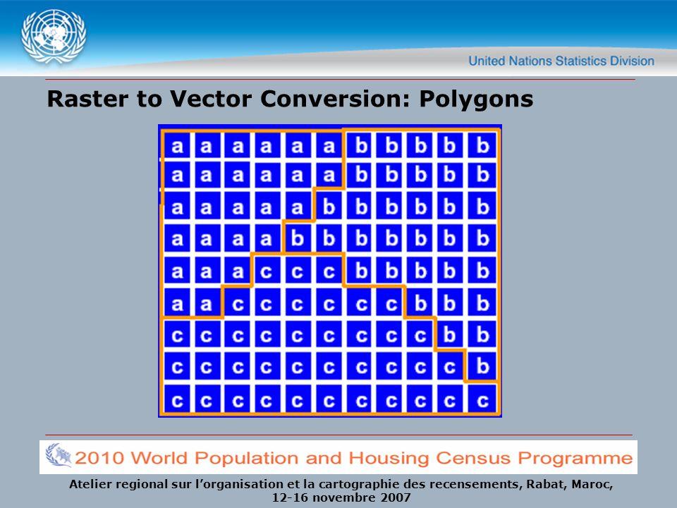 Atelier regional sur lorganisation et la cartographie des recensements, Rabat, Maroc, 12-16 novembre 2007 Raster to Vector Conversion: Polygons
