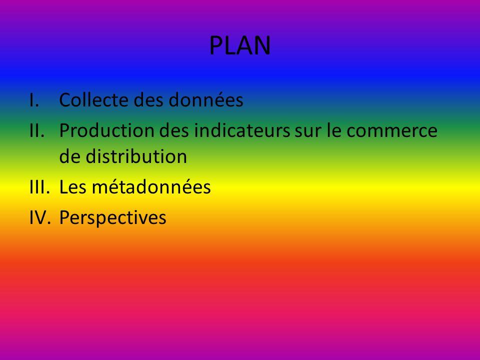PLAN I.Collecte des données II.Production des indicateurs sur le commerce de distribution III.Les métadonnées IV.Perspectives