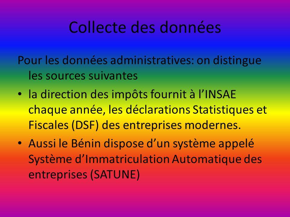 Collecte des données Pour les données administratives: on distingue les sources suivantes la direction des impôts fournit à lINSAE chaque année, les d