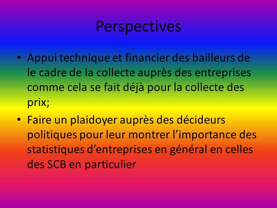 Perspectives Appui technique et financier des bailleurs de le cadre de la collecte auprès des entreprises comme cela se fait déjà pour la collecte des prix; Faire un plaidoyer auprès des décideurs politiques pour leur montrer limportance des statistiques dentreprises en général en celles des SCB en particulier