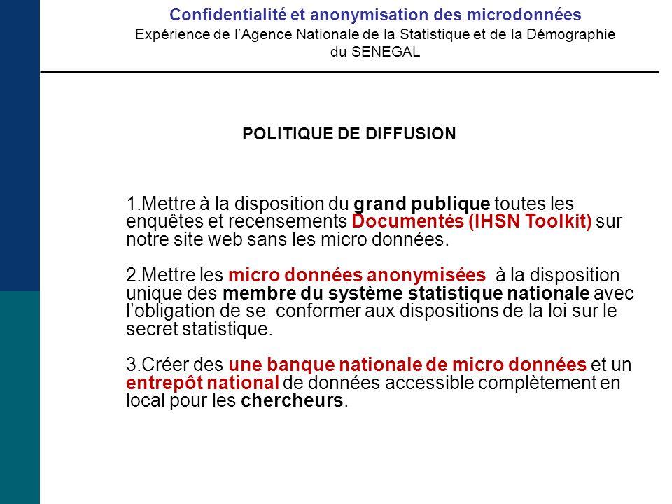 1.Mettre à la disposition du grand publique toutes les enquêtes et recensements Documentés (IHSN Toolkit) sur notre site web sans les micro données.
