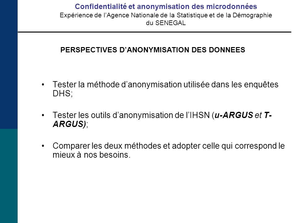 Tester la méthode danonymisation utilisée dans les enquêtes DHS; Tester les outils danonymisation de lIHSN (u-ARGUS et T- ARGUS); Comparer les deux méthodes et adopter celle qui correspond le mieux à nos besoins.