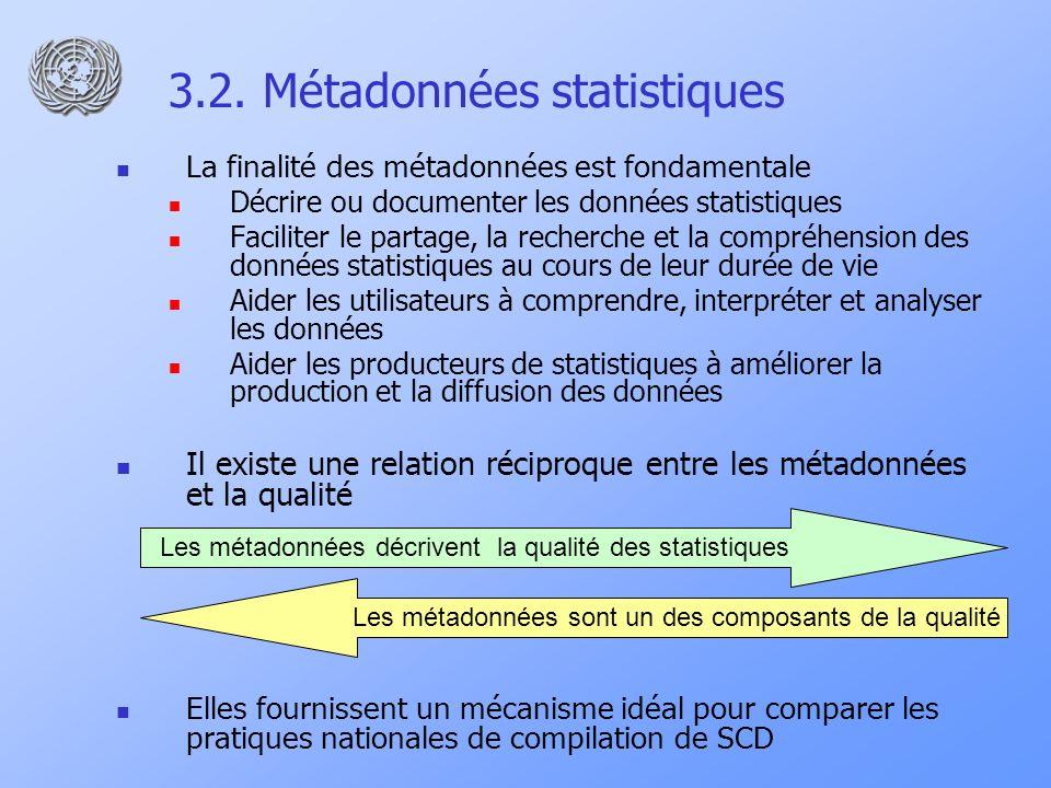 3.2. Métadonnées statistiques La finalité des métadonnées est fondamentale Décrire ou documenter les données statistiques Faciliter le partage, la rec