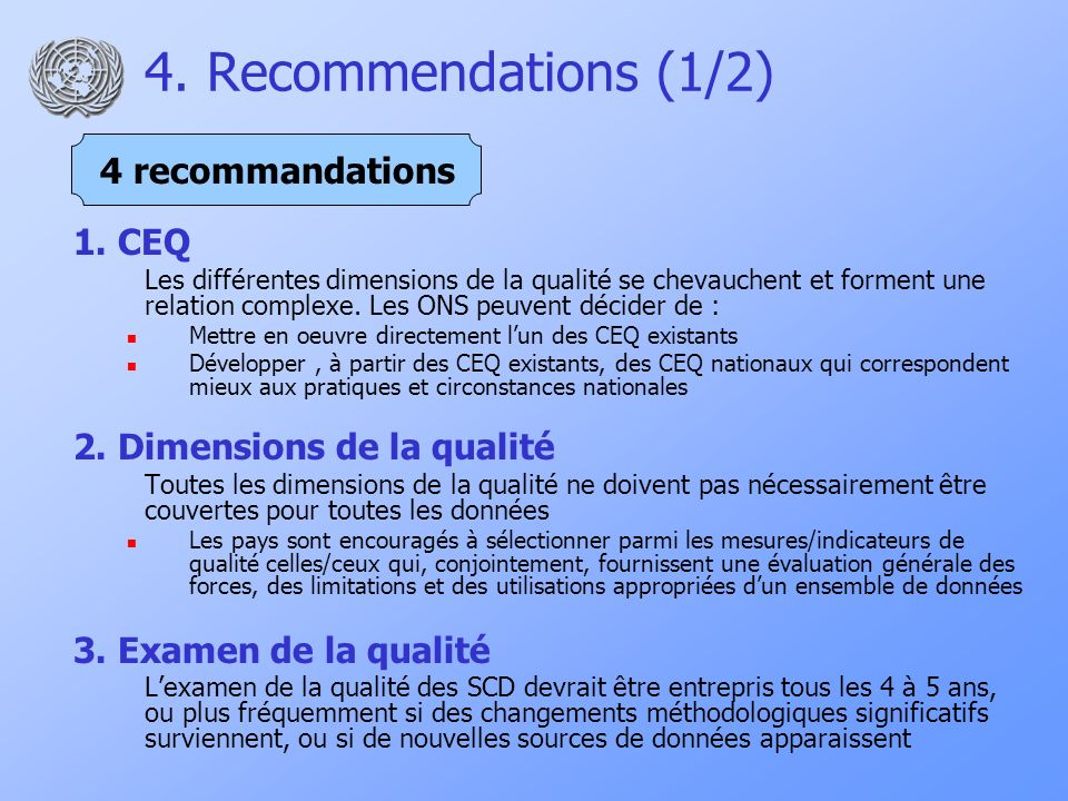 4. Recommendations (1/2) 1.