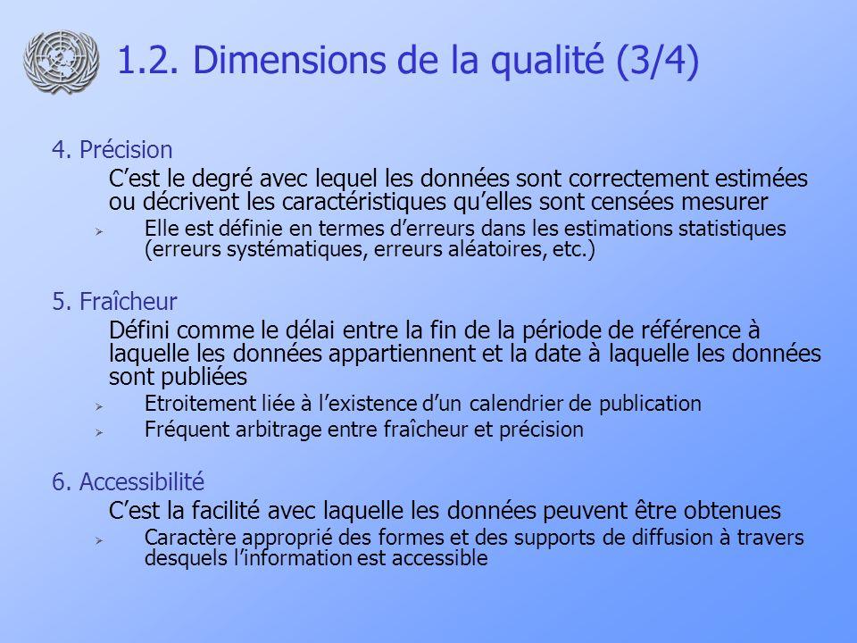 1.2.Dimensions de la qualité (4/4) 7. Robustesse méthodologique 8.