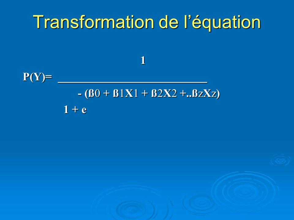 Transformation de léquation 1 1 P(Y)= __________________________ - (ß0 + ß1X1 + ß2X2 +..ßzXz) - (ß0 + ß1X1 + ß2X2 +..ßzXz) 1 + e 1 + e