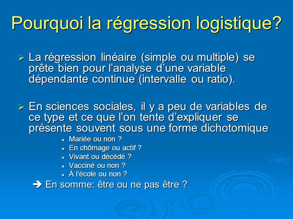 Pourquoi la régression logistique? La régression linéaire (simple ou multiple) se prête bien pour lanalyse dune variable dépendante continue (interval