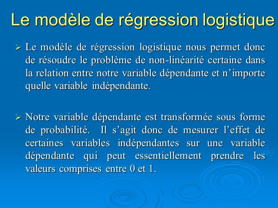 Le modèle de régression logistique Le modèle de régression logistique nous permet donc de résoudre le problème de non-linéarité certaine dans la relat