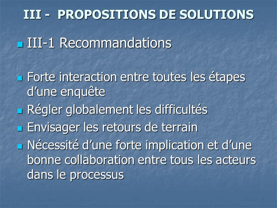 III - PROPOSITIONS DE SOLUTIONS III-1 Recommandations III-1 Recommandations Forte interaction entre toutes les étapes dune enquête Forte interaction e