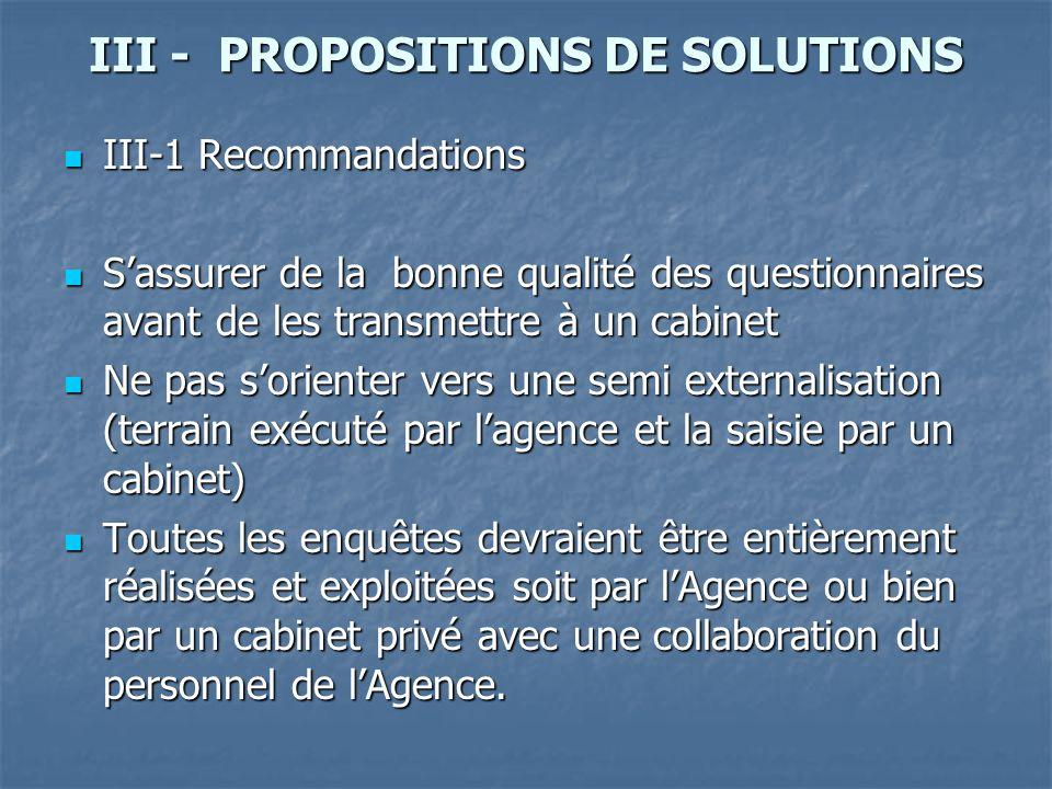 III - PROPOSITIONS DE SOLUTIONS III-1 Recommandations III-1 Recommandations Sassurer de la bonne qualité des questionnaires avant de les transmettre à