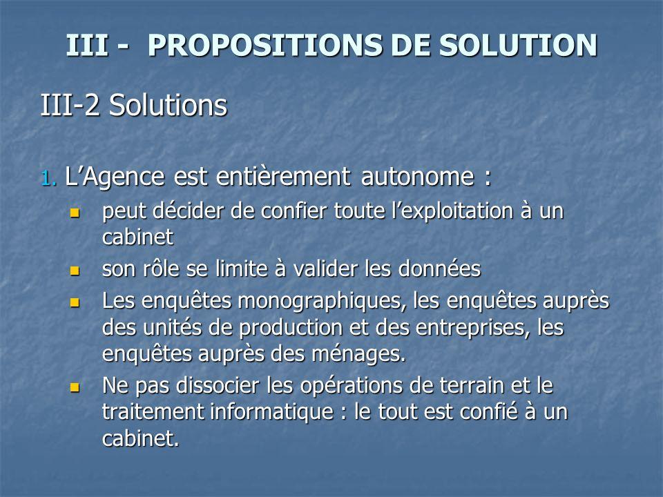 III - PROPOSITIONS DE SOLUTION III-2 Solutions 1. LAgence est entièrement autonome : peut décider de confier toute lexploitation à un cabinet peut déc