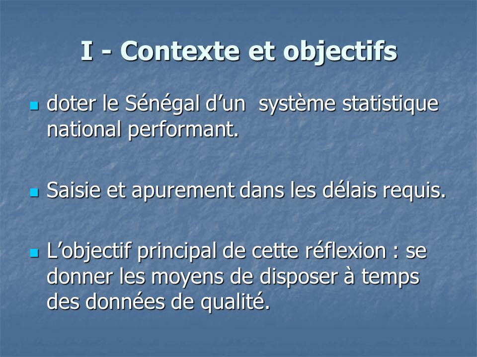 I - Contexte et objectifs doter le Sénégal dun système statistique national performant. doter le Sénégal dun système statistique national performant.