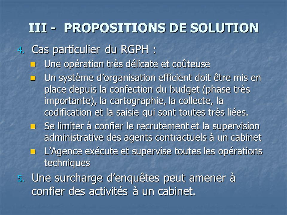 III - PROPOSITIONS DE SOLUTION 4. Cas particulier du RGPH : Une opération très délicate et coûteuse Une opération très délicate et coûteuse Un système