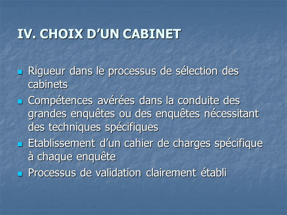 IV. CHOIX DUN CABINET Rigueur dans le processus de sélection des cabinets Rigueur dans le processus de sélection des cabinets Compétences avérées dans