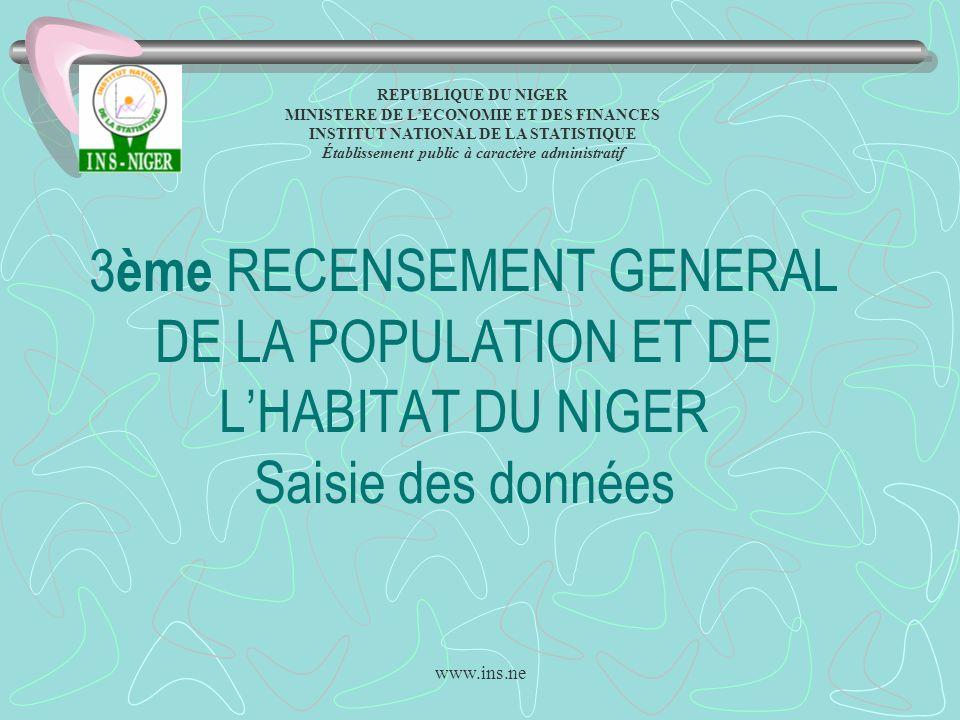 www.ins.ne 3 ème RECENSEMENT GENERAL DE LA POPULATION ET DE LHABITAT DU NIGER Saisie des données REPUBLIQUE DU NIGER MINISTERE DE LECONOMIE ET DES FIN