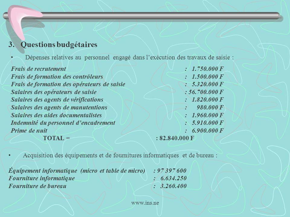 www.ins.ne 3. Questions budgétaires Dépenses relatives au personnel engagé dans lexécution des travaux de saisie : Frais de recrutement : 1.750.000 F
