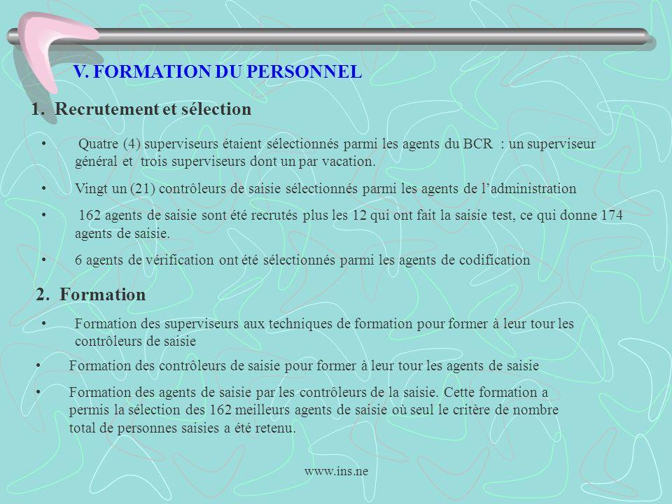 www.ins.ne V. FORMATION DU PERSONNEL 1. Recrutement et sélection Quatre (4) superviseurs étaient sélectionnés parmi les agents du BCR : un superviseur