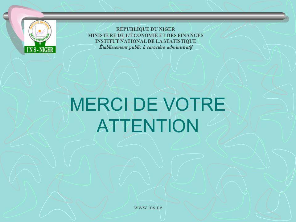www.ins.ne MERCI DE VOTRE ATTENTION REPUBLIQUE DU NIGER MINISTERE DE LECONOMIE ET DES FINANCES INSTITUT NATIONAL DE LA STATISTIQUE Établissement publi