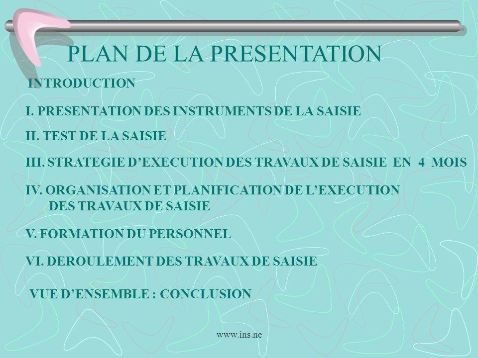 www.ins.ne PLAN DE LA PRESENTATION INTRODUCTION I. PRESENTATION DES INSTRUMENTS DE LA SAISIE II. TEST DE LA SAISIE III. STRATEGIE DEXECUTION DES TRAVA