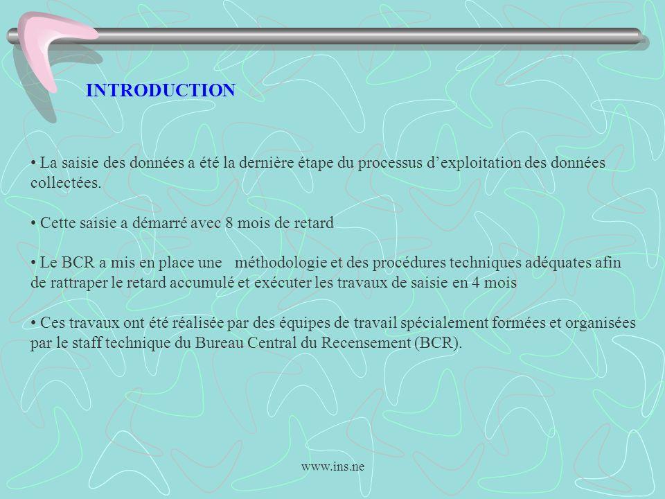 www.ins.ne INTRODUCTION La saisie des données a été la dernière étape du processus dexploitation des données collectées. Cette saisie a démarré avec 8