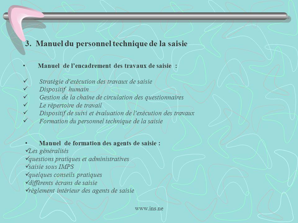 www.ins.ne 3. Manuel du personnel technique de la saisie Manuel de lencadrement des travaux de saisie : Stratégie d'exécution des travaux de saisie Di