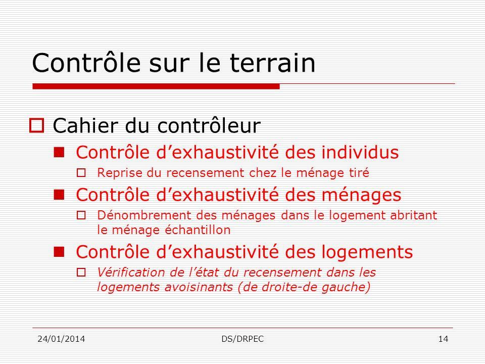 PROCEDURES DE CONTRÔLE ET DEVALUATION DES DONNEES 24/01/2014DS/DRPEC13