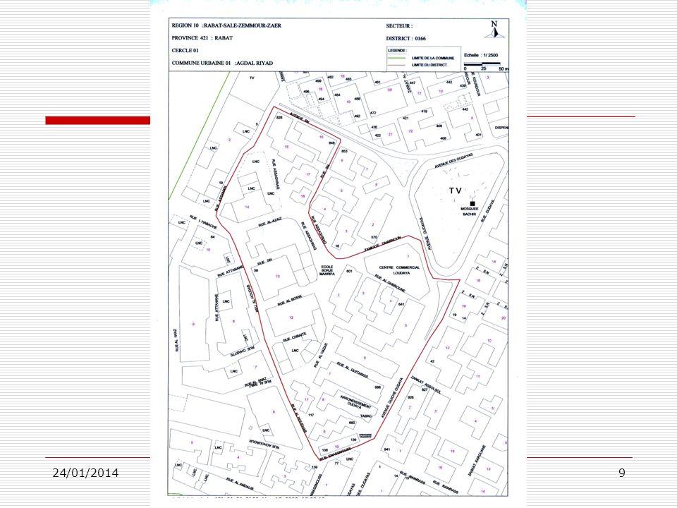24/01/2014DS/DRPEC8 Cartographie 3 La cartographie qui a souvent occupé une place de choix dans la préparation et la réalisation du RGPH, a consisté à subdiviser le territoire national en petites zones aréolaires distinctes appelées districts du recensement, et ce pour cinq raisons principales : + Disposer dunités aréolaires relativement homogènes aussi bien du point de vue type dhabitat quen ce qui concerne le nombre moyen de ménages devant être soumis au recensement + Définir à chaque agent recenseur la zone dans laquelle il doit opérer en vue déviter lomission ou le double compte de ménages + Fournir le maximum de données sur les districts afin de pouvoir mettre en place un dispositif adéquat, sur le plan organisationnel, en vue dune plus grande maîtrise des travaux de collecte + Estimer les moyens humains et matériels à mobiliser lors de la phase de réalisation du recensement + Disposer d un code géographique actualisé pour les différents districts de recensement