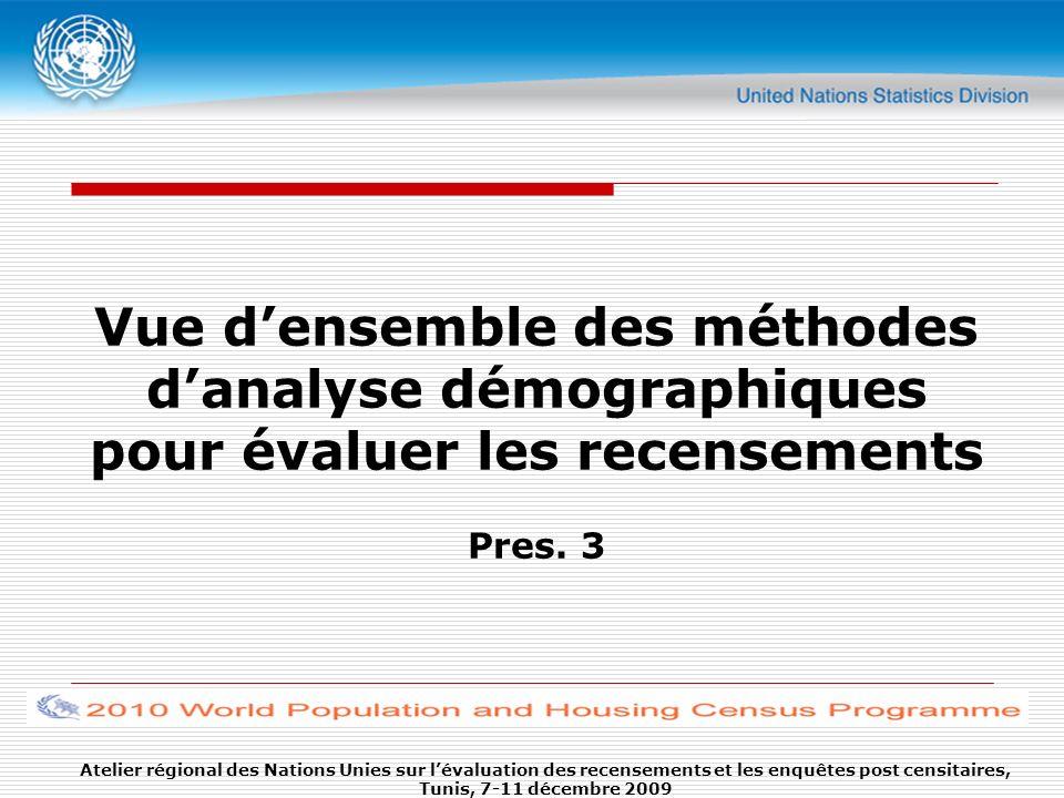 Vue densemble des méthodes danalyse démographiques pour évaluer les recensements Pres. 3 Atelier régional des Nations Unies sur lévaluation des recens