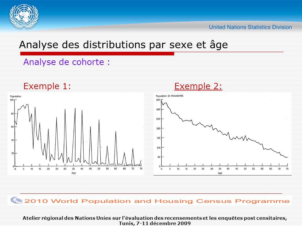 Analyse des distributions par sexe et âge Analyse de cohorte : Exemple 1:Exemple 2: Atelier régional des Nations Unies sur lévaluation des recensement